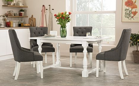 Devonshire White Dining Table with 4 Duke Slate Chairs