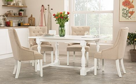 Devonshire White Dining Table with 4 Duke Oatmeal Chairs