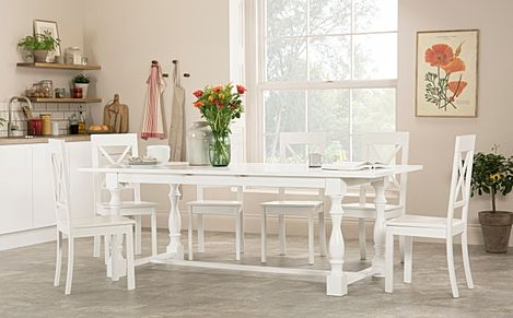 Devonshire White Extending Dining Table with 6 Kendal Chairs