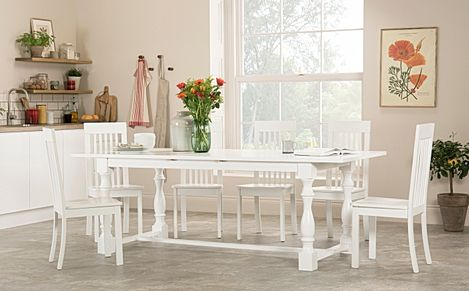 Devonshire White Extending Dining Table with 8 Oxford Chairs