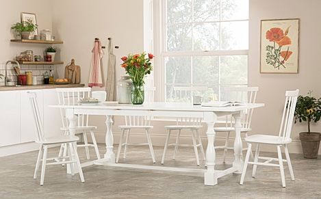 Devonshire White Extending Dining Table with 6 Pendle Chairs