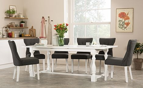 Devonshire White Extending Dining Table with 6 Bewley Slate Fabric Chairs