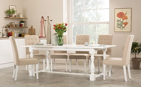 Devonshire White Extending Dining Table with 8 Regent Oatmeal Fabric Chairs