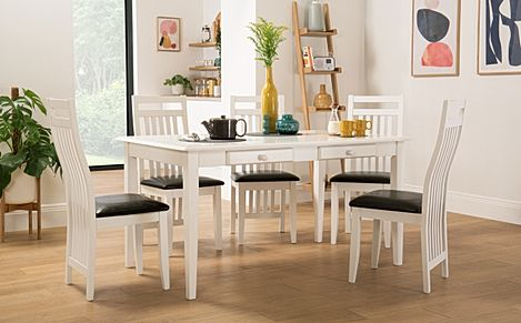 Wiltshire White Dining Table with Storage with 6 Java Chairs