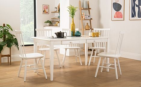 Wiltshire White Dining Table with Storage with 4 Pendle Chairs