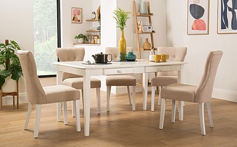 Wiltshire White Dining Table with Storage with 4 Bewley Oatmeal Fabric Chairs