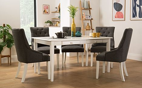 Wiltshire White Dining Table with Storage with 6 Duke Slate Fabric Chairs