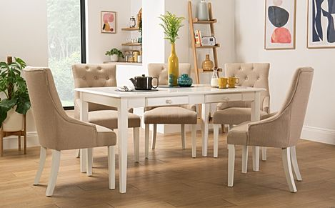 Wiltshire White Dining Table with Storage with 6 Duke Oatmeal Chairs
