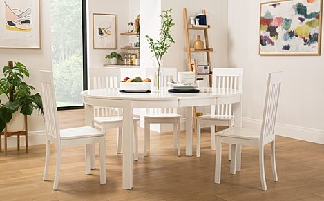 Marlborough Round White Extending Dining Table with 6 Oxford Chairs