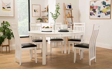 Marlborough Round White Extending Dining Table with 6 Java Chairs