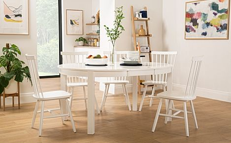 Marlborough Round White Extending Dining Table with 4 Pendle Chairs