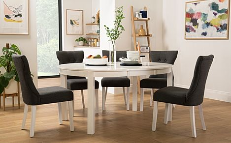 Marlborough Round White Extending Dining Table with 4 Bewley Slate Chairs