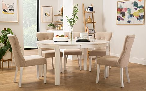 Marlborough Round White Extending Dining Table with 4 Bewley Oatmeal Chairs