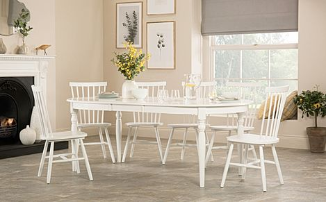 Albany Oval White Extending Dining Table with 4 Pendle Chairs