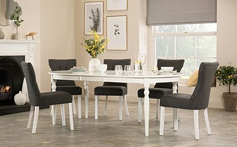 Albany Oval White Extending Dining Table with 4 Bewley Slate Chairs