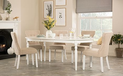 Albany Oval White Extending Dining Table with 6 Bewley Oatmeal Chairs