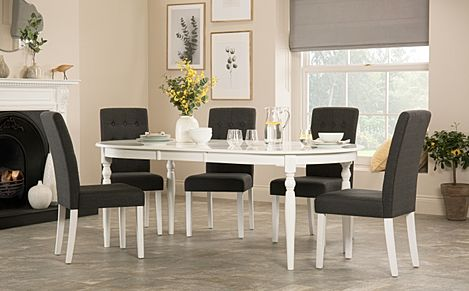 Albany Oval White Extending Dining Table with 8 Regent Slate Chairs