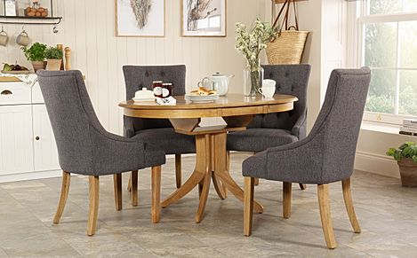 Hudson Round Oak Extending Dining Table with 4 Duke Slate Fabric Chairs