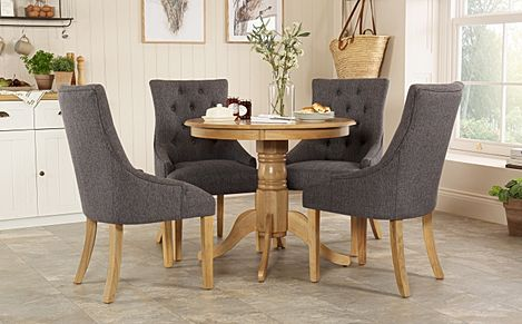Kingston Round Oak Dining Table with 4 Duke Slate Fabric Chairs