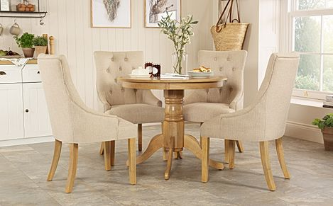 Kingston Round Oak Dining Table with 4 Duke Oatmeal Fabric Chairs