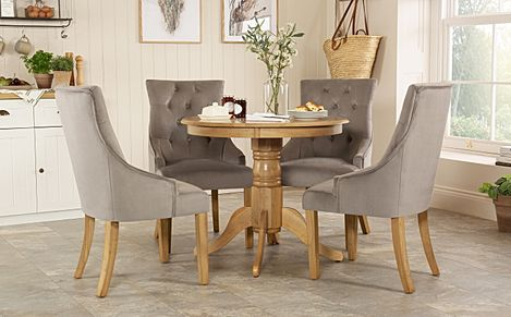 Kingston Round Oak Dining Table with 4 Duke Grey Velvet Chairs