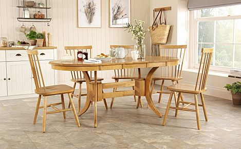 Townhouse Oval Oak Extending Dining Table with 4 Pendle Chairs
