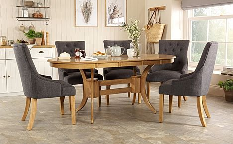 Townhouse Oval Oak Extending Dining Table with 6 Duke Slate Fabric Chairs