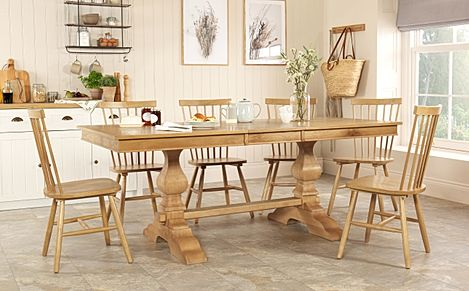 Cavendish Oak Extending Dining Table with 6 Pendle Chairs