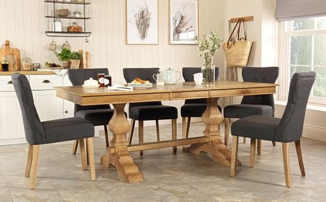 Cavendish Oak Extending Dining Table with 6 Bewley Slate Fabric Chairs