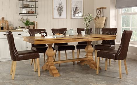 Cavendish Oak Extending Dining Table with 8 Bewley Club Brown Leather Chairs