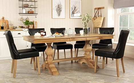 Cavendish Oak Extending Dining Table with 8 Bewley Black Leather Chairs