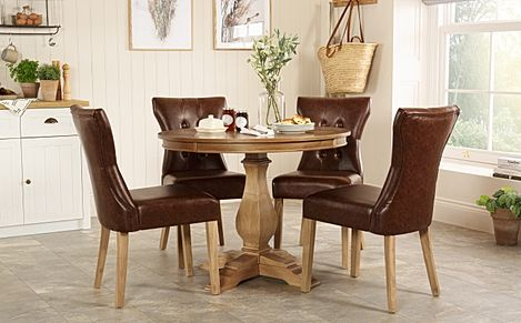 Cavendish Round Oak Dining Table with 4 Bewley Club Brown Chairs