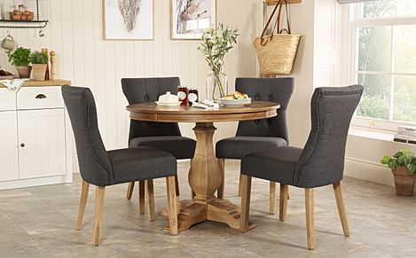 Cavendish Round Oak Dining Table with 4 Bewley Slate Chairs