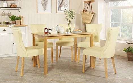 Milton Oak Dining Table with 4 Bewley Ivory Leather Chairs