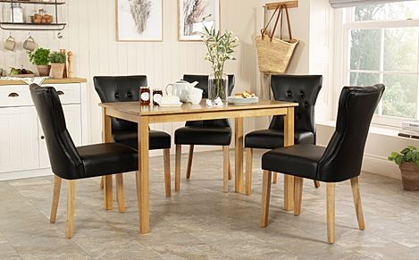Milton Oak Dining Table with 4 Bewley Black Leather Chairs