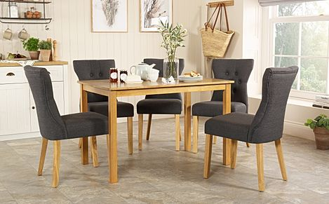 Milton Oak Dining Table with 4 Bewley Slate Fabric Chairs
