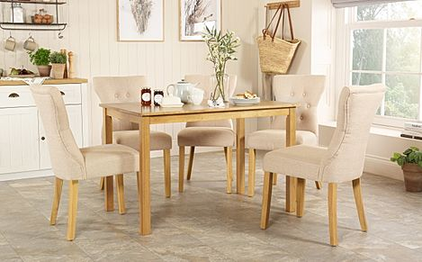 Milton Oak Dining Table with 6 Bewley Oatmeal Fabric Chairs