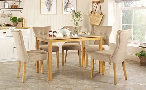 Milton Oak Dining Table with 6 Bewley Mink Velvet Chairs