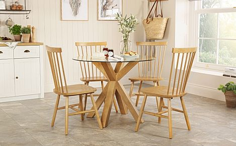 Hatton Round Oak and Glass Dining Table with 4 Pendle Chairs