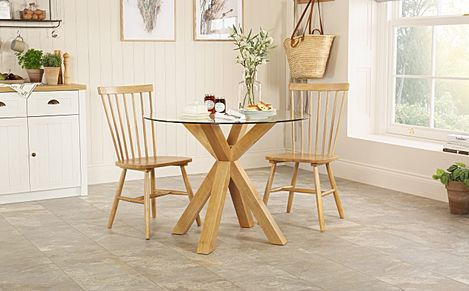 Hatton Round Oak and Glass Dining Table with 2 Pendle Chairs