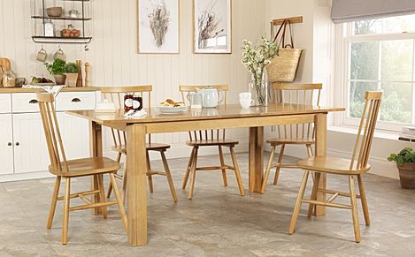 Bali Oak Extending Dining Table with 4 Pendle Chairs