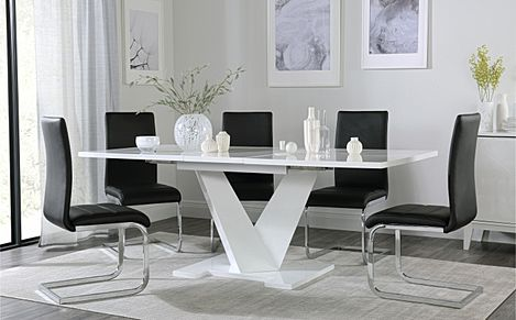 Turin White High Gloss Extending Dining Table with 8 Perth Black Leather Chairs