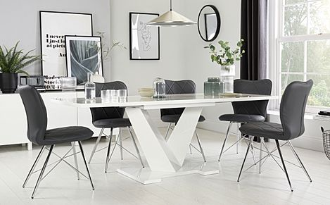 Turin White High Gloss Extending Dining Table with 8 Lucca Grey Leather Chairs