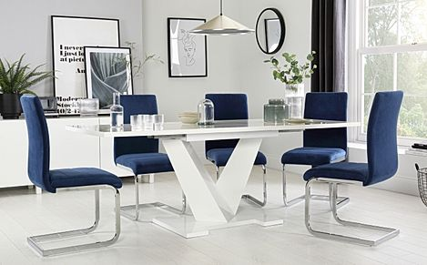 Turin White High Gloss Extending Dining Table with 8 Perth Blue Velvet Chairs