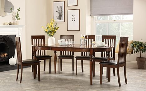 Albany Oval Dark Wood Extending Dining Table with 6 Oxford Chairs (Brown Seat Pad)