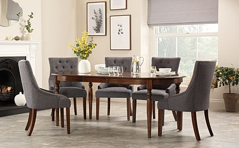 Albany Oval Dark Wood Extending Dining Table with 6 Duke Slate Chairs