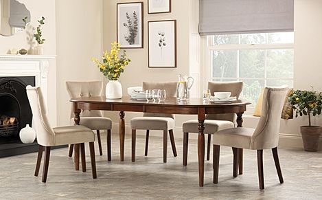 Albany Oval Dark Wood Extending Dining Table with 8 Bewley Mink Velvet Chairs