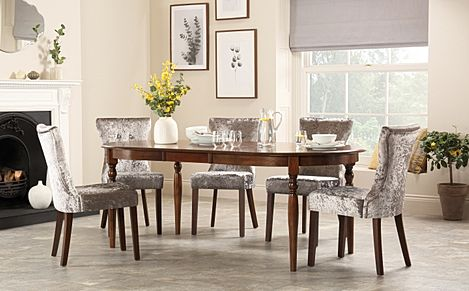 Albany Oval Dark Wood Extending Dining Table with 6 Bewley Silver Velvet Chairs