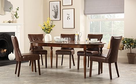 Albany Oval Dark Wood Extending Dining Table with 6 Bewley Club Brown Chairs