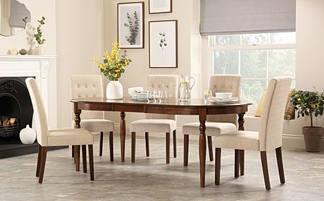 Albany Oval Dark Wood Extending Dining Table with 6 Regent Oatmeal Chairs
